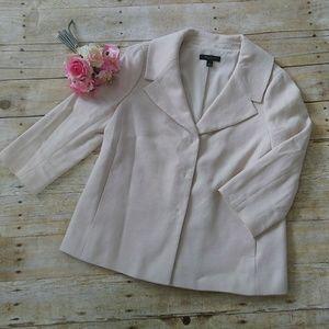 Ann Taylor Ivory Textured 3/4 Sleeve Blazer Size 8